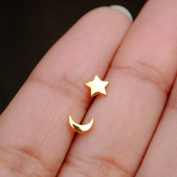 Star Moon 14K Solid Gold Nose Pin Studs, Zodiac Nostril Jewelry