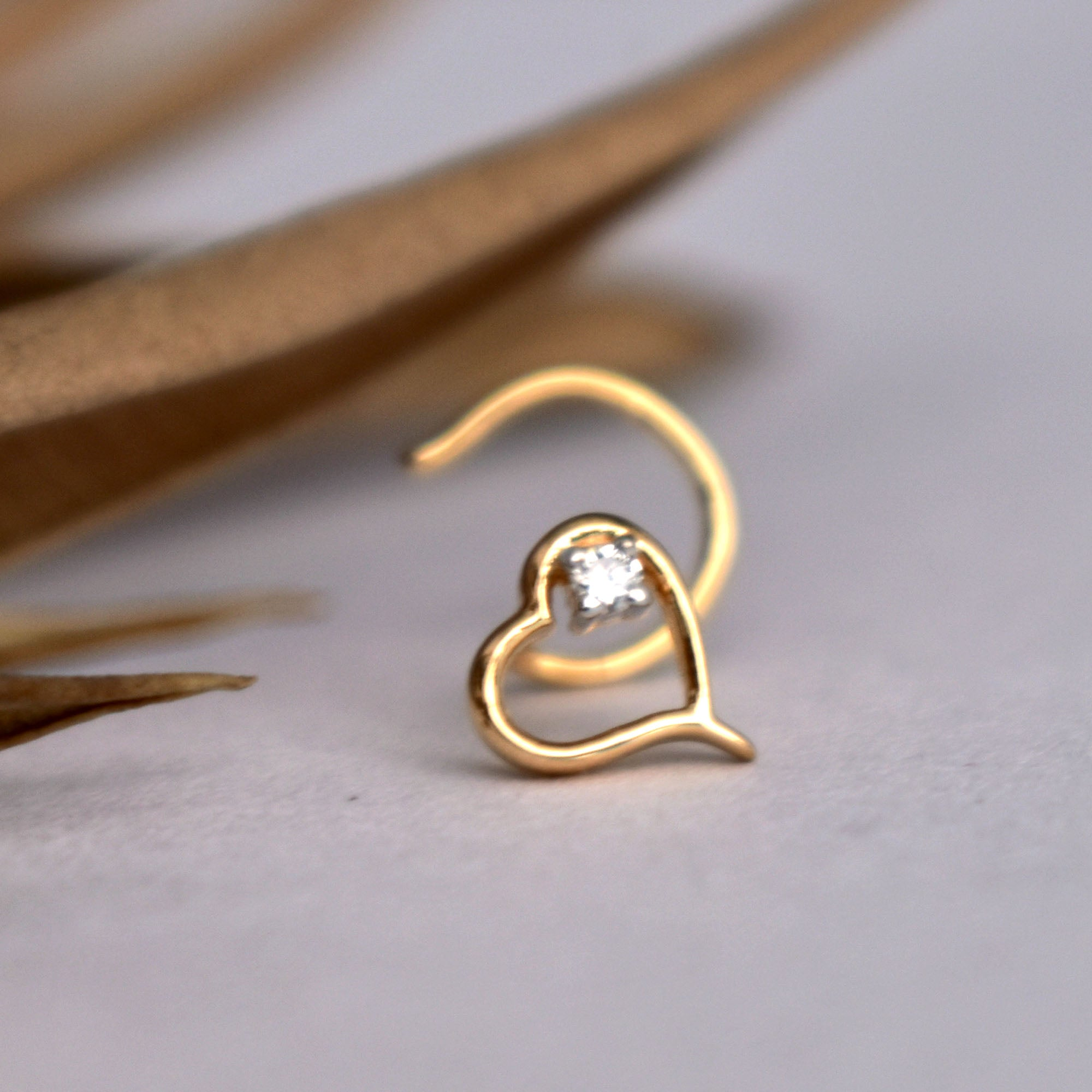 Details about  /Piercing Nose Gold 14K With Gem Heart