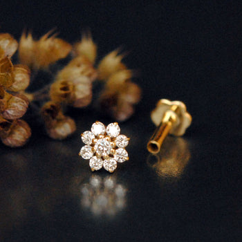 Dainty Gold and Diamond Flower Cluster Nose/Ear Stud-Abhika Jewels