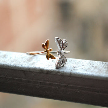 Dragonfly Open Ring In Gold and Diamond. Damselfly Insect Jewelry (SLR001)