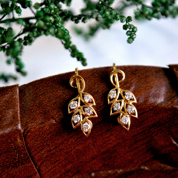 Diamond Cluster Grapevine Gold and Diamond Leaf earrings (T023)