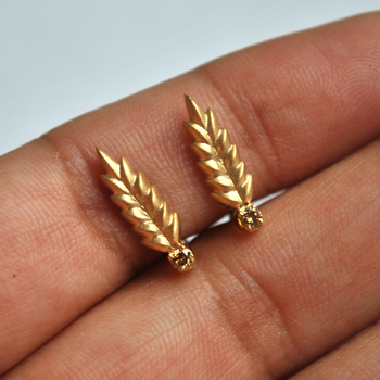Gold Fern Ear Climber Stud Earrings In Matte Finish with Champagne Diamond in 14K Gold (T081)