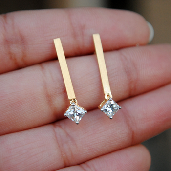 Minimal 0.65 ct Princess Cut Diamond Earrings set with 14Kt Gold Bar-Abhika Jewels