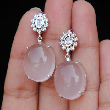 Oval Diamond and Rose Quartz Dangle 14K Gold Earrings-Abhika Jewels
