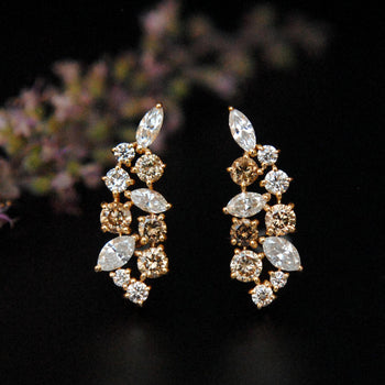 Champagne & Marquise Cut Diamond Ear Climber-Abhika Jewels