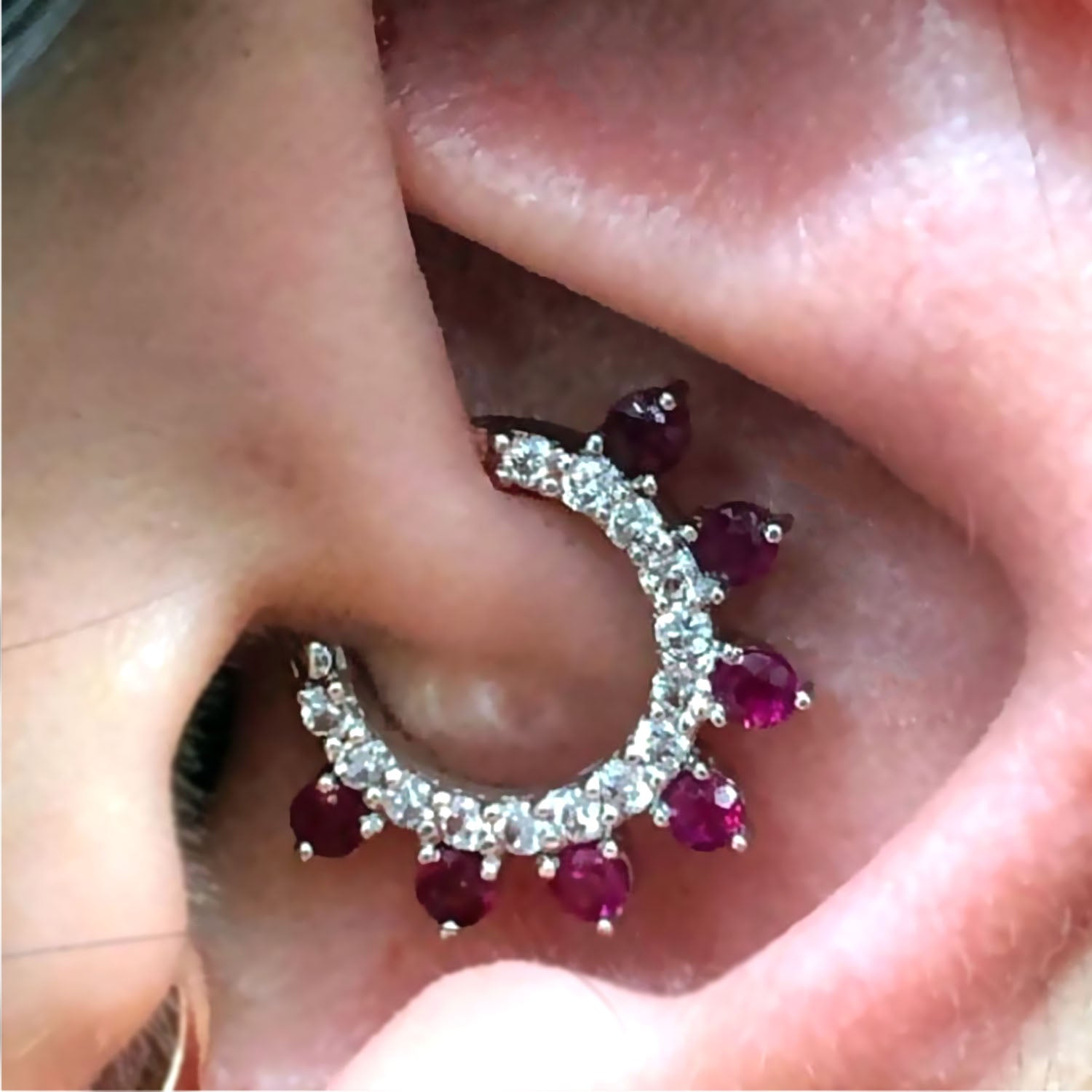 Diamond And Ruby Septum Clicker In 14k Solid Daith Earring Septum