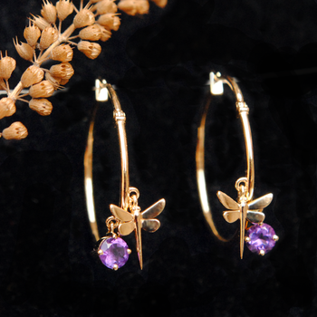 Dragonfly Amethyst 14k Gold Hoop Earrings-Abhika Jewels