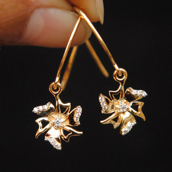 Dangling Flowers Gold and Diamond Earrings/ EarWire-Abhika Jewels