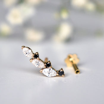 Blacl and White Diamond Conch Earring, 14k Solid Gold Curved Ear Climber (T441)