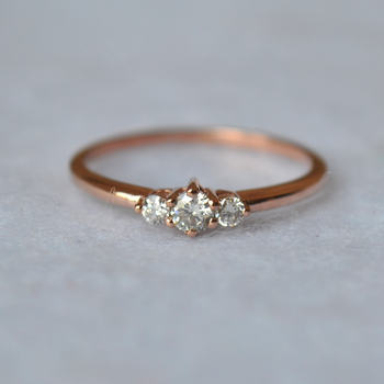 Three Round Brilliant Diamond Dainty Ring in 14K Solid Gold with Prong Setting (LR558)