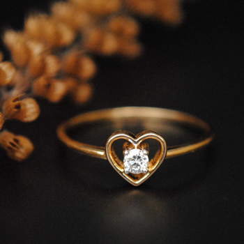 Dainty Heart Diamond Ring in 14K Solid Gold