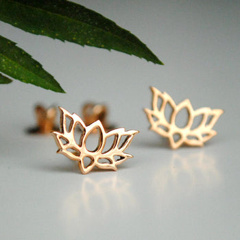 Lotus Stud Earrings-Abhika Jewels