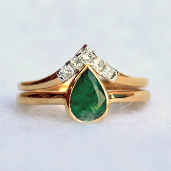 Pear Emerald Princess Diamond Chevron Engagement Ring Set-Abhika Jewels