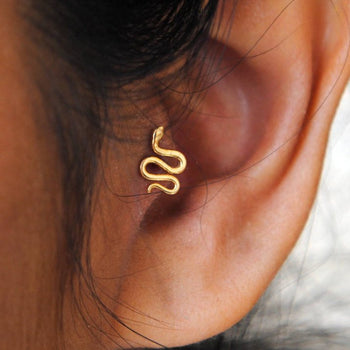Pushback Tragus Gold Snake Earring-Abhika Jewels