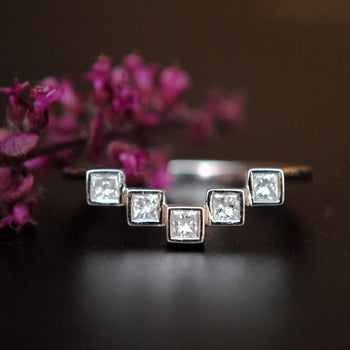 Geometric Princess Cut Diamond Band-Abhika Jewels
