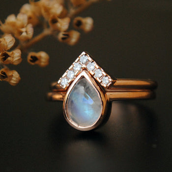 Pear Moonstone Wedding Ring Set-Abhika Jewels