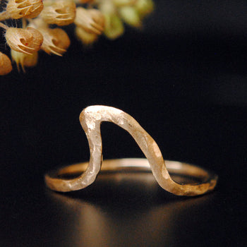 Hammered Gold Wave Ring-Abhika Jewels