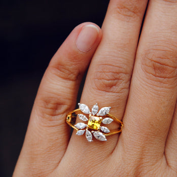 Yellow Sapphire with Cluster Diamond Ring-Abhika Jewels