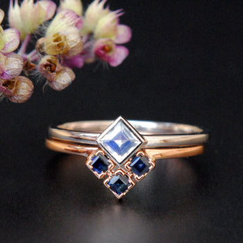 Moonstone & Blue Sapphire Wedding Ring Set-Abhika Jewels