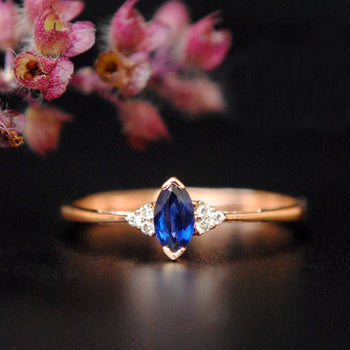 Blue Sapphire Marquise and Diamond Cluster Ring-Abhika Jewels