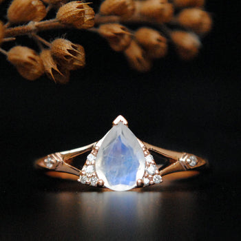 Pear Moonstone and Diamond Split Shank Ring-Abhika Jewels