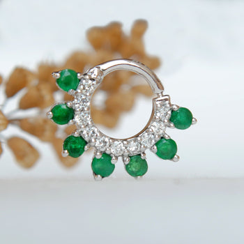 Diamond Emerald Septum/Daith Clicker-Abhika Jewels