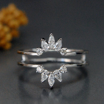 Marquise Pear Cut Diamond Halo Ring Enhancer-Abhika Jewels