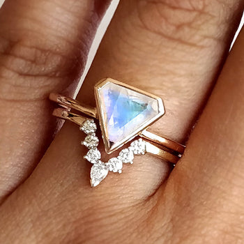 Shield Moonstone Ring with Marquis Pear Band, Wedding Ring Set-Abhika Jewels