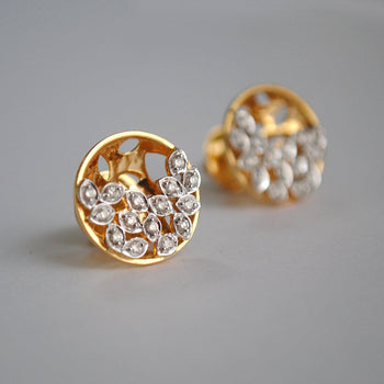 Gold Diamond Crescent Moon Leaf 3D Studs-Abhika Jewels