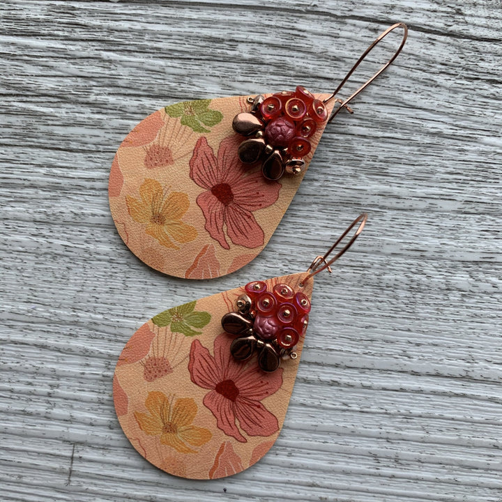 Apricot, Pink & Rose Gold Floral Earrings - On A String