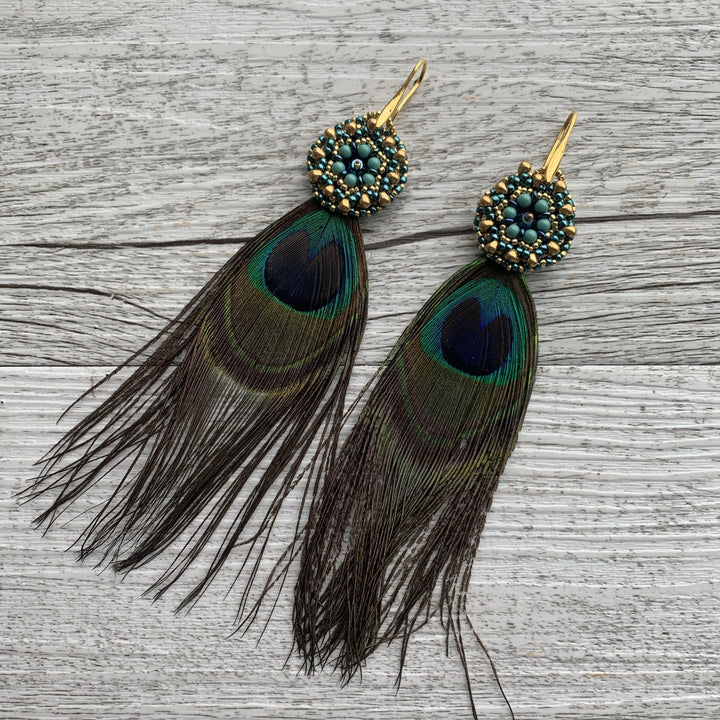 Beaded Peacock Feather Earrings - On A String
