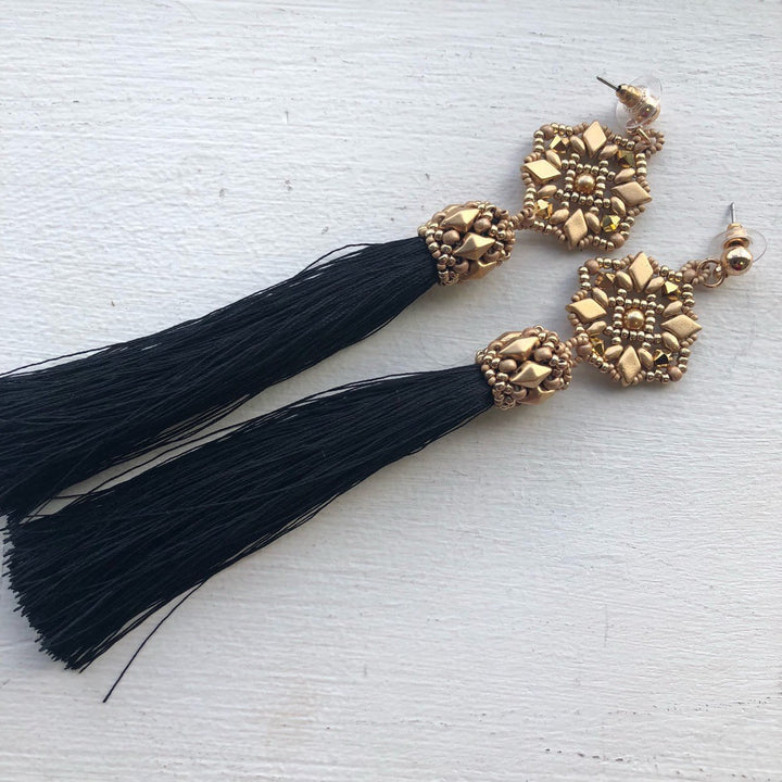 Black and Gold Tassel Earrings - On A String