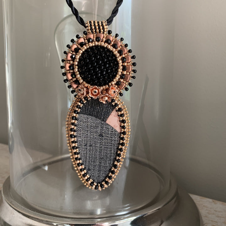 Black & Rose Gold Pendant Necklace - On A String