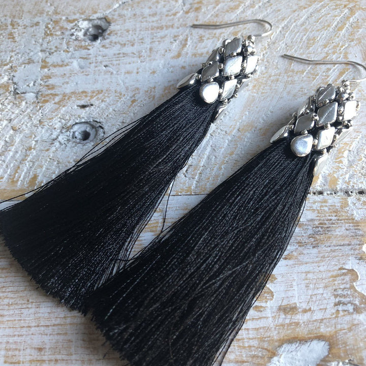 Black Tassel Earrings - On A String