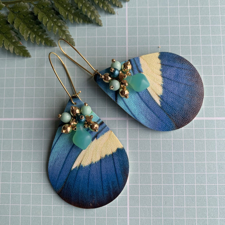 Blue Butterfly Earrings - On A String