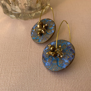 Blue Ceramic Clay Earrings - On A String