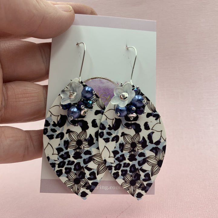 Blue Flower Earrings - On A String