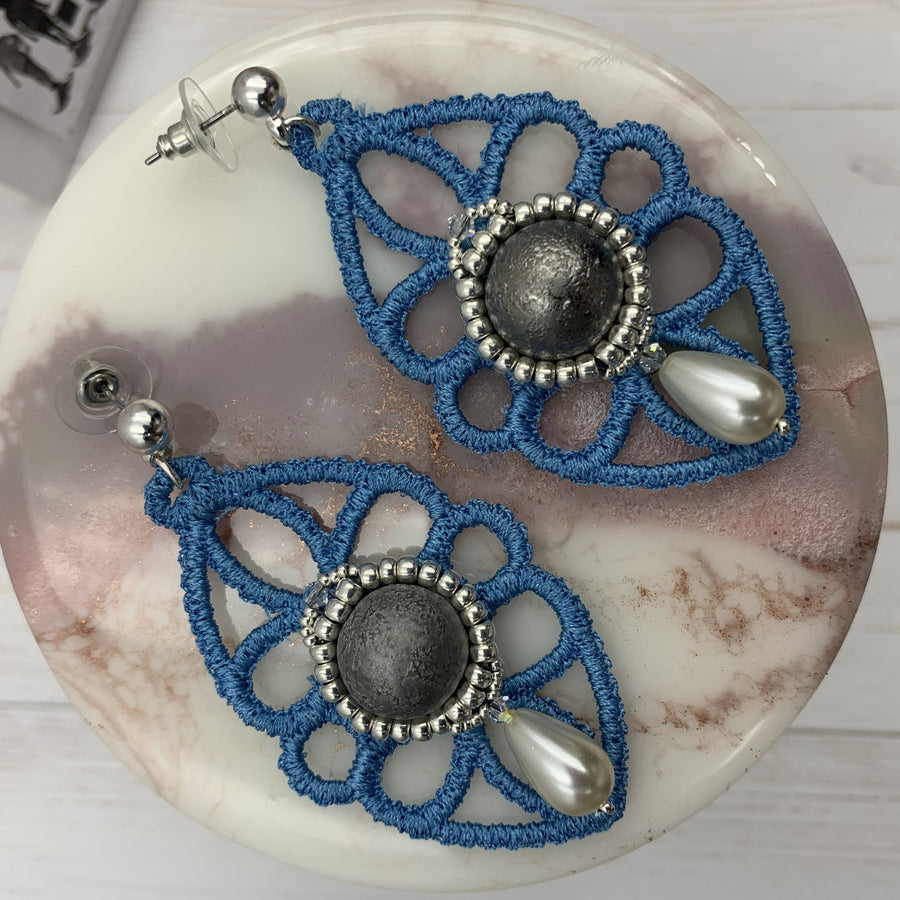 Blue Lace Earrings with Beaded Drop - On A String