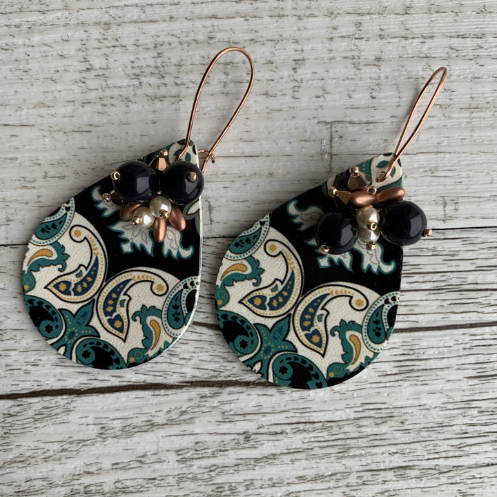 Blue Mosaic Print Earrings - On A String