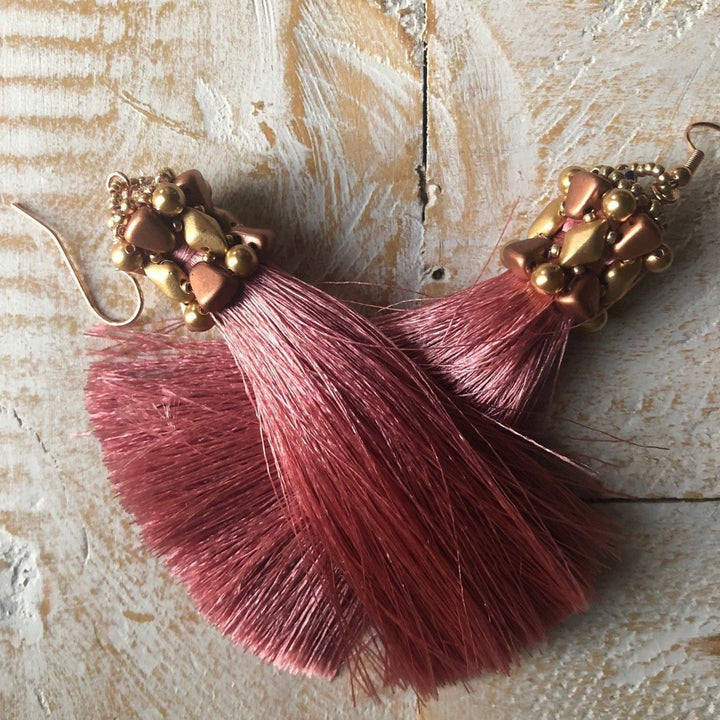 Blush Pink Tassel Earrings - On A String