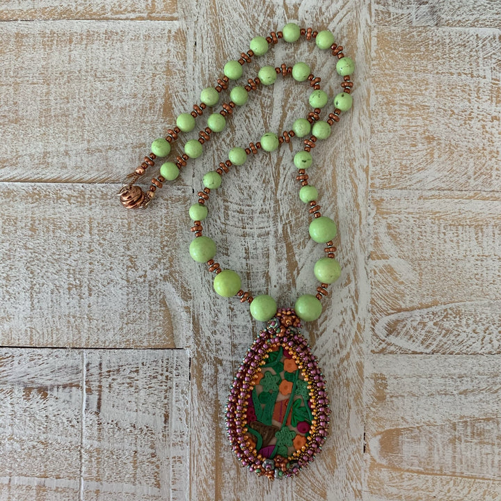 Bright Coloured Garden Party Beaded Pendant - On A String