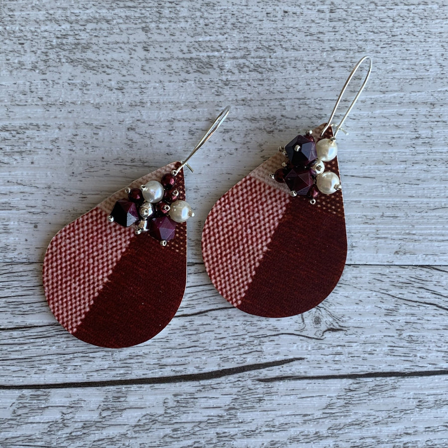 Burgundy Check Earrings - On A String
