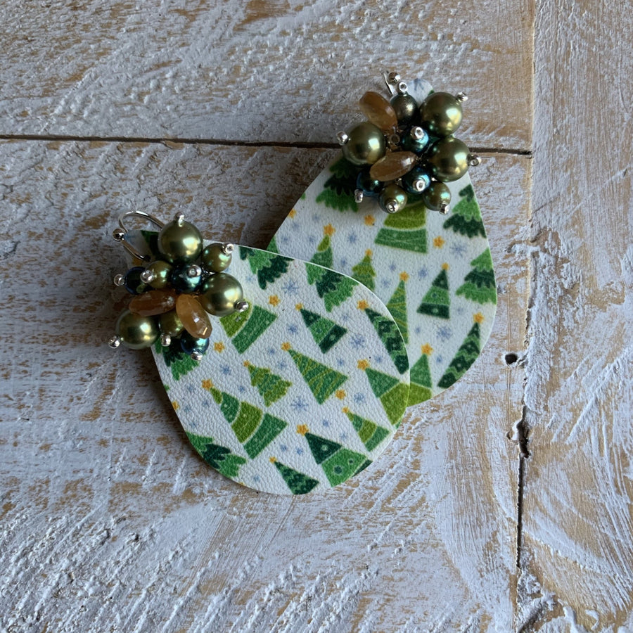 Christmas Tree Print Earrings - On A String