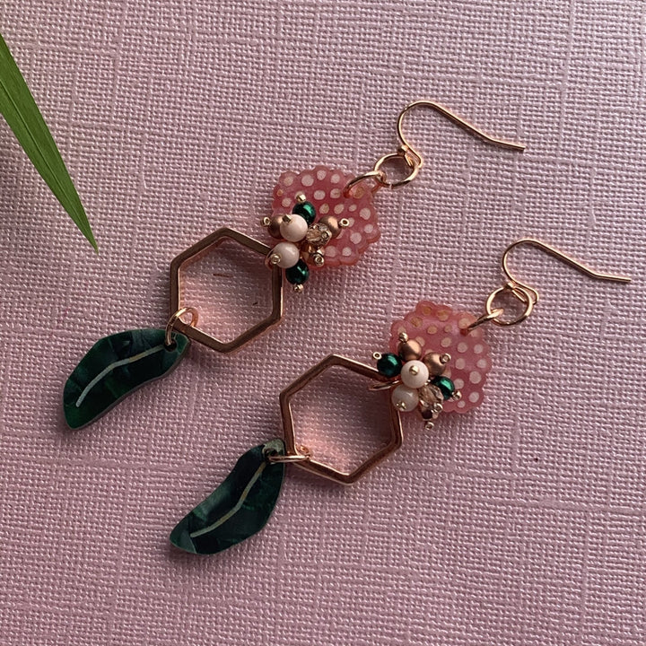 Coral Gum Blossom Earrings - On A String