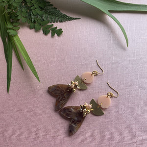 Coral Moth Earrings - On A String