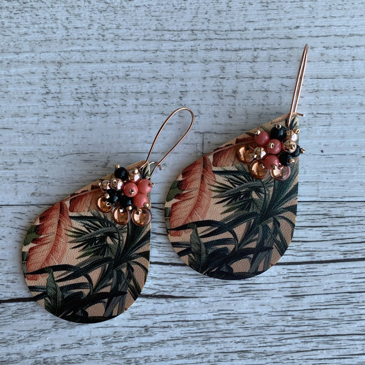 Coral Palm Earrings - On A String