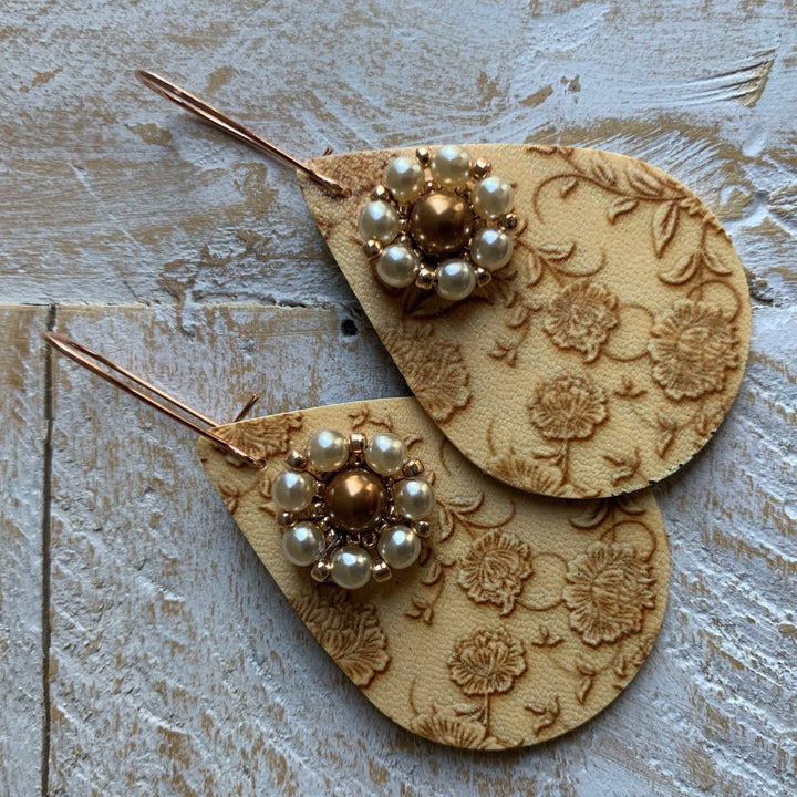 Cream Lace Print Earrings - On A String