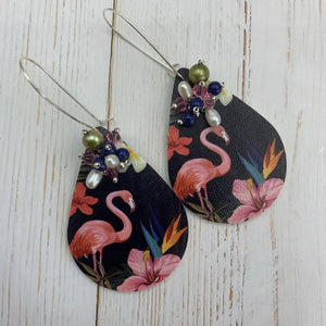 Dark Flamingo Print Earrings - On A String