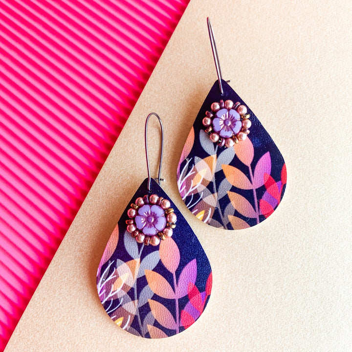 Dark Mauve Forest Earrings - On A String