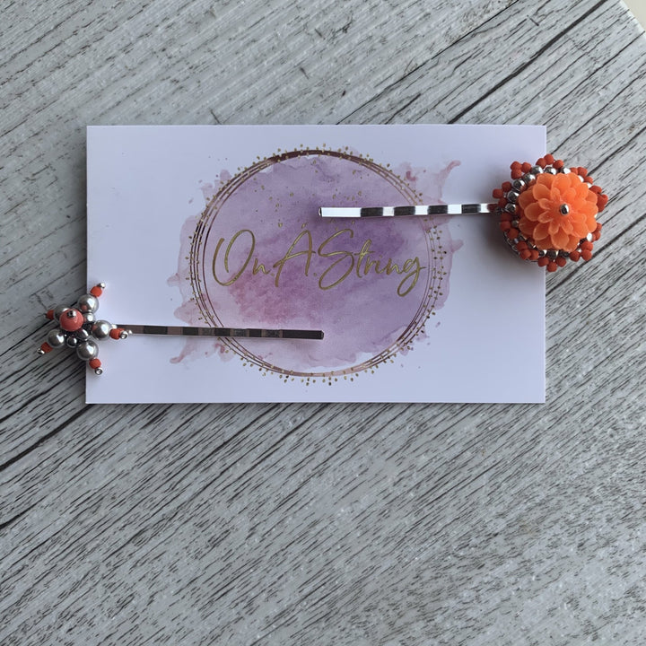 Flower Beaded Hairpin Sets - On A String